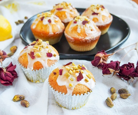 Persian Love Cake Cupcakes in silver foil wrappers