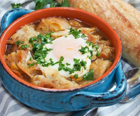 Sopa de Ajo (Spanish Garlic Soup) with crusty bread