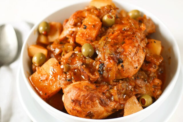 Cuban Chicken Fricassee with chicken, peas, and potatoes