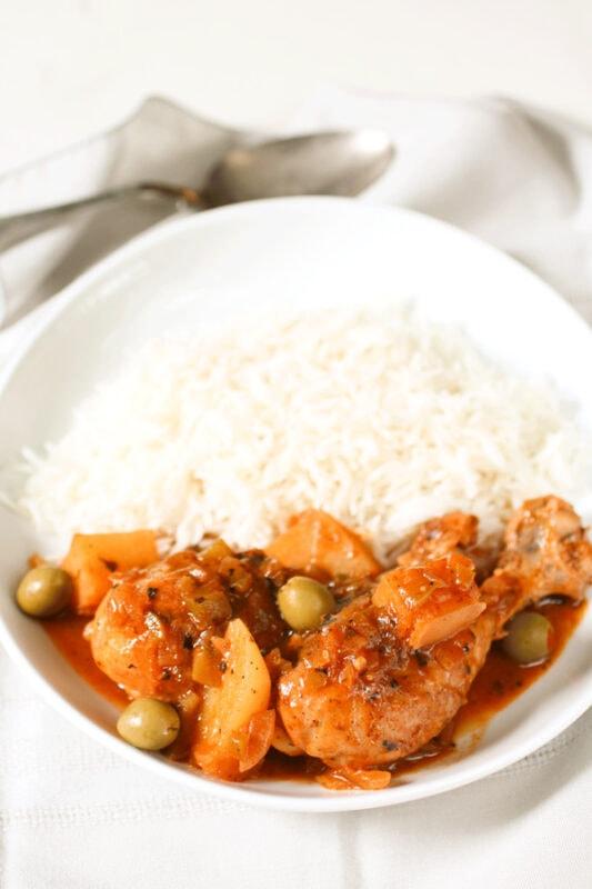 Cuban Chicken Fricassee - chicken leg and rice