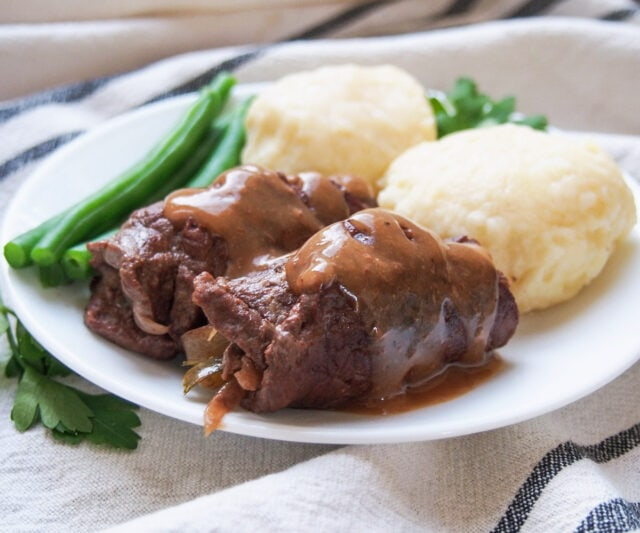 German Beef Rouladen with potato dumpling