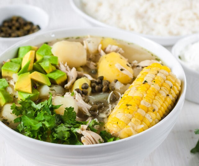Colombian Ajiaco chicken soup with capers and corn