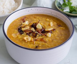 Masoor Dal - Red Lentil Curry topped with garlic and onions