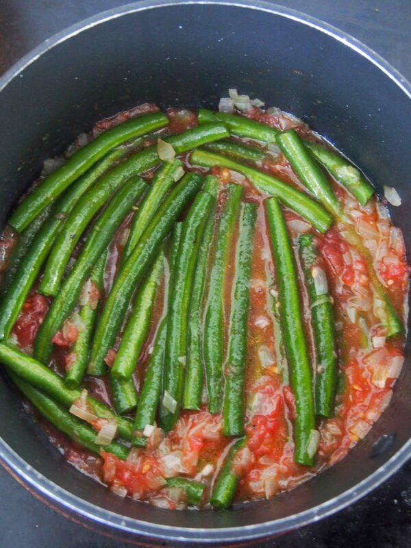 Adding beans to Fasolakia - Greek Green Beans