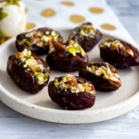 Stuffed Dates with cream cheese topped with nuts