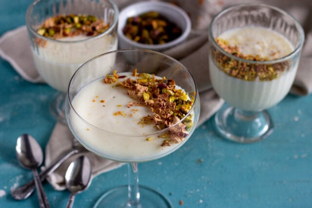 Muhallebi - Middle Eastern milk pudding topped with nuts and rose petals