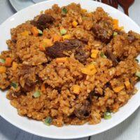 Ghanaian Jollof Rice with lamb