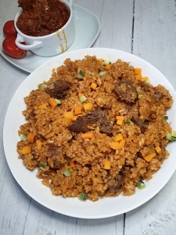 Gahanian Jollof Rice with beef or lamb