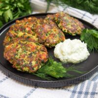 Kolokithokeftedes (Greek Zucchini Fritters) with herbs and feta
